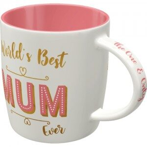 "Retromugg med text ""World's Best Mom ever"". Perfekt som Mors Dags-present. Muggen finns hos Magasin11."