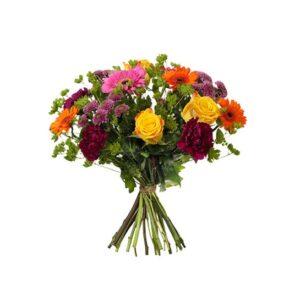 Festlig bukett med blandade blommor i mixade, glad färger. En bukett från Interflora