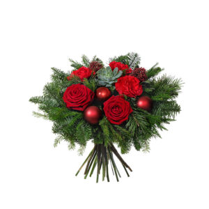 """På bilden ser du """"Juldröm"""", en bukett med rosor, nejlikor, röda julkulor och julgrönt. Superfin! Blommorna finns att beställa i Interfloras e-butik."""