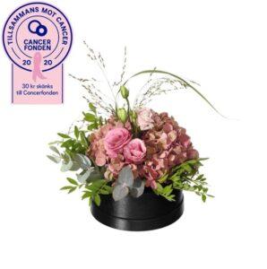 Rosa Boxen. En söt blomsterdekoration med hortensia, prärieklocka, eukalyptus och gröna blad. En blomsterdekoration från Interflora, i samarbete med Cancerfonden.