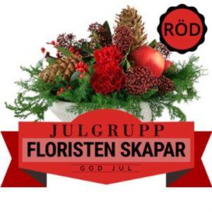 Traditionell julgrupp i rött, grönt o brunt (floristen skapar med tillgängliga blommor och växter). Ett alternativ hos Florister i Sverige.