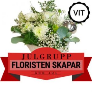 Julgrupp med vintervita, blandade blommor. Skicka julblommorna med ett bud från Florister i Sverige och gör någon glad!