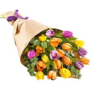 Bukett med färgglada tulpaner, vackert inslagna i fint presentpapper. Blommorna hittar du hos Euroflorist.