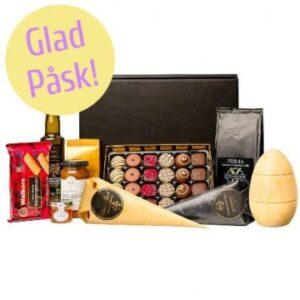 Delikatesslåda med choklad, gourmetkex, kaffe, marmelad... Skicka lådan med ett chokladbud från Florister i Sverige!