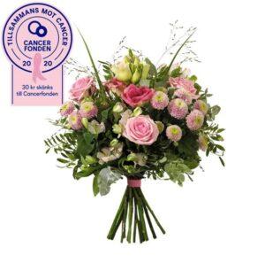 En fantastisk bukett med rosor, prärieklocka, krysantemum, alstroemeria, eukalyptus och gröna blad. Blommorna i rosa - du hittar dem hos Interflora.
