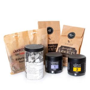 Presentlåda med blandade lakritssorter. Beställ online hos Sakligheter.