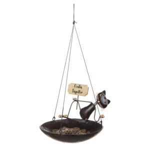 Hängande fågelho med rolig kattdekoration. Finns hos Sakligheter.